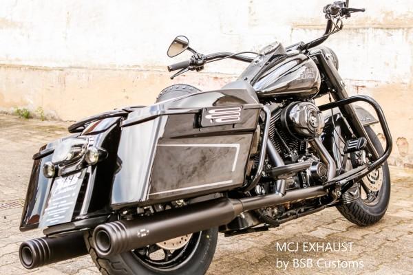 """MCJ Touring Muffler mit manueller Verstellung E- Genehmigt """"BLACK"""" für Touring Modelle"""