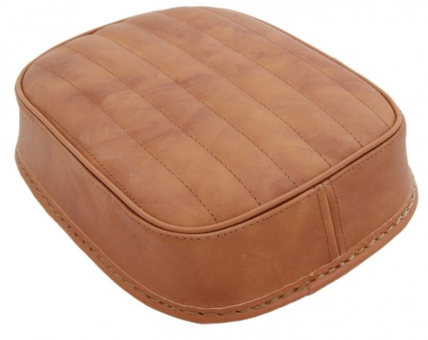 Suction Cup Pillion Pad Brown Leather, 6 Suction Cups, 26x20x5, vertical stitch
