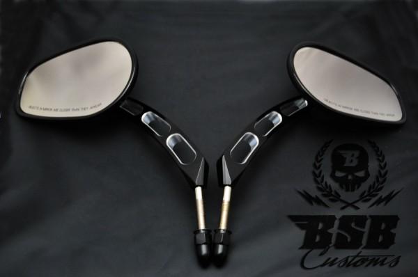 """Edge cut Spiegel Set für Harley Davidson Softail Dyna Sportster """"3D cut"""""""