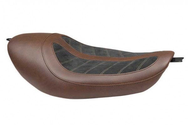 Fred Kodlin Signature Series, HD Sportster Solo Seat With 2,1 / 3,3 / 4,5 Gallon Tanks Brown/Black