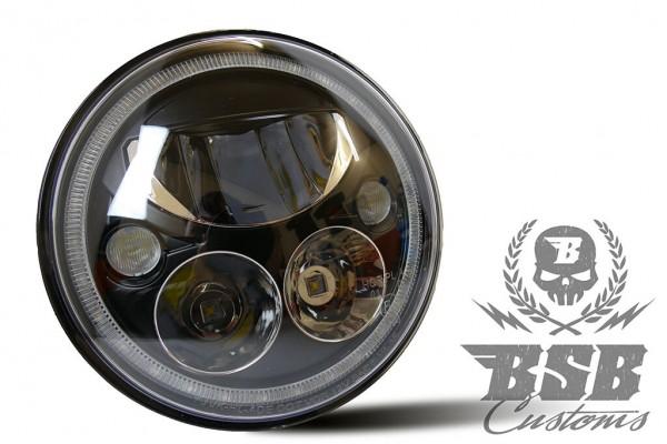 LED Scheinwerfer 7 Zoll schwarz, Standlicht, E-Zulassung für Touring Modelle bis 2020