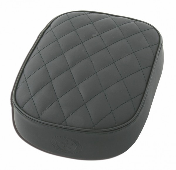 Suction Cup Pillion Pad Black Leather, 6 Suction Cups, 26x20x5, diamond stitch