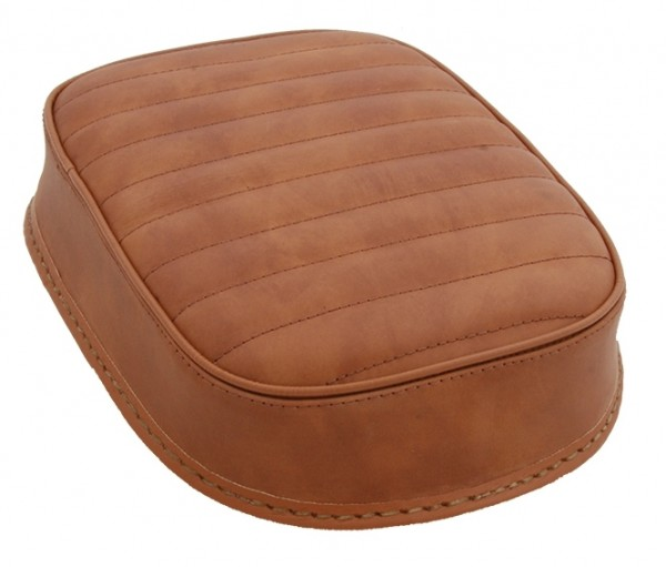 Suction Cup Pillion Pad Brown Leather, 6 Suction Cups, 26x20x5, horizontal stitch
