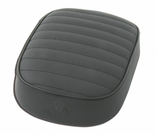 Suction Cup Pillion Pad Black Leather, 6 Suction Cups, 26x20x5, vertical stitch